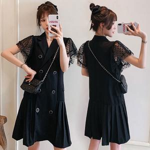 YF39337# 大码短袖雪纺连衣裙宽松200斤显瘦遮肚中长款 服装批发女装直播货源