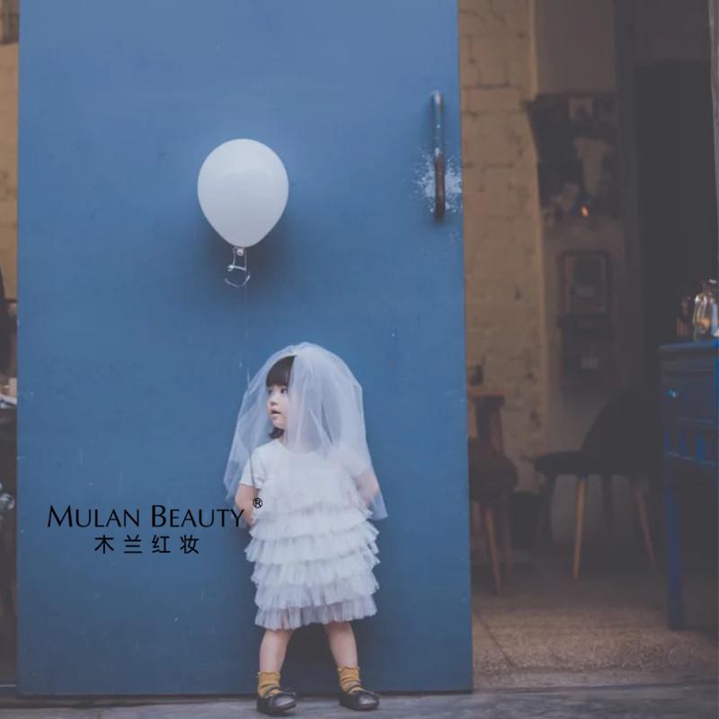 韩版双层儿童头纱白色公主影楼摄影生日花童头纱硬纱蓬蓬纱包邮