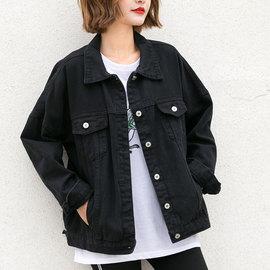 孜索2020秋季新款黑色的牛仔外套女宽松韩版bf休闲牛仔衣春秋夹克