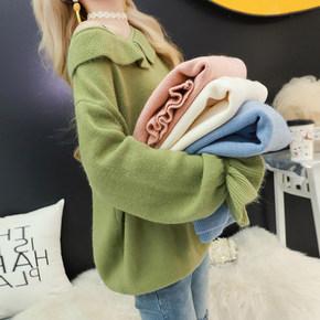 2019韩版女装圆领针织衫春秋季新款时尚套头打底衫毛衣纯色外套潮