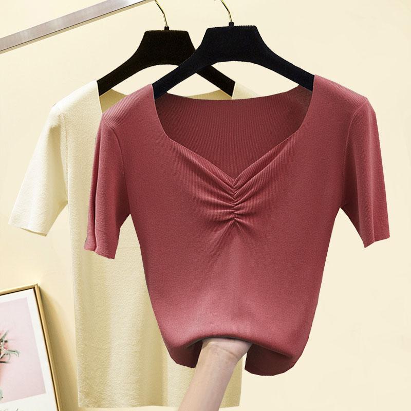 V领冰丝t恤女夏季新款修身高腰短款打底衫白色针织短袖外穿上衣潮图片