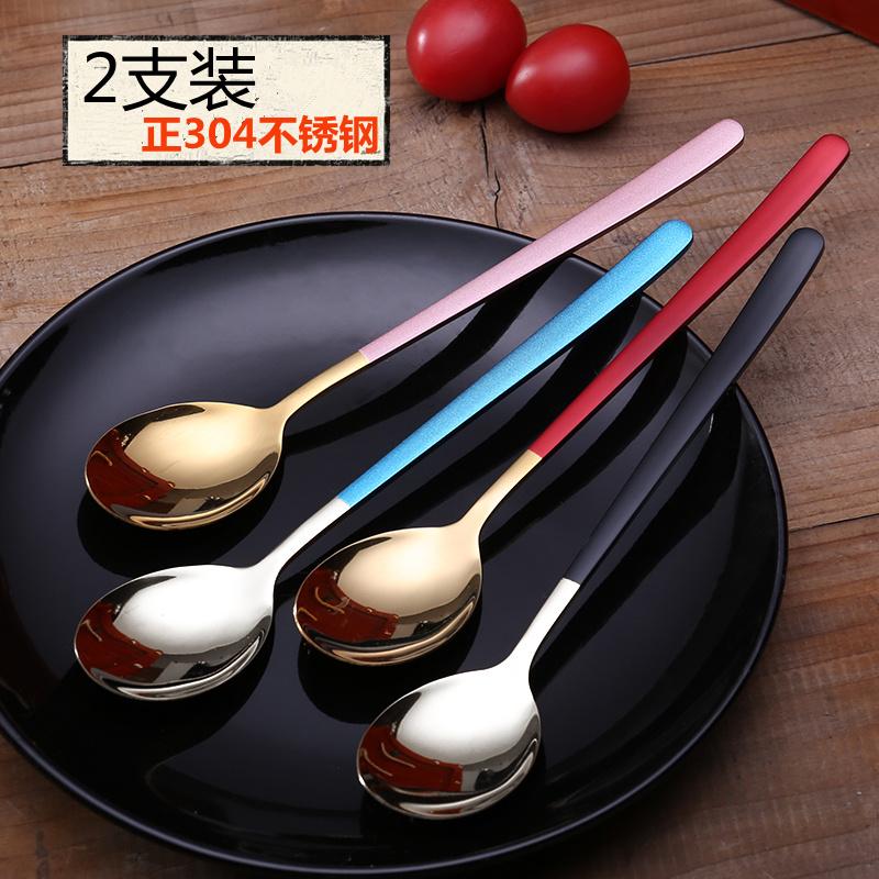 304不锈钢勺子创意西餐厅叉子汤匙可爱学生饭勺网红家用韩式大勺