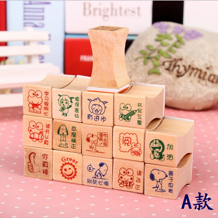 Wooden stationery Teaching comment seal cartoon stamp seal encourage students