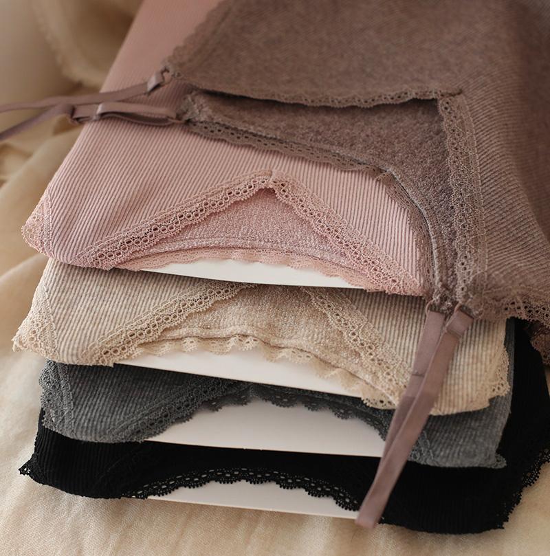 日本无缝蕾丝吊带衫女百搭内搭打底衫毛圈绒保暖背心内衣秋冬外穿