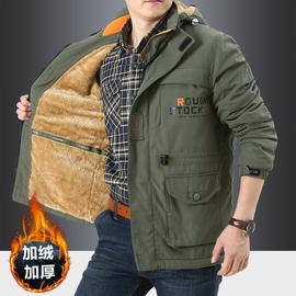冬季加绒加厚多口袋工装棉衣男士大码宽松户外登山外套保暖冲锋衣