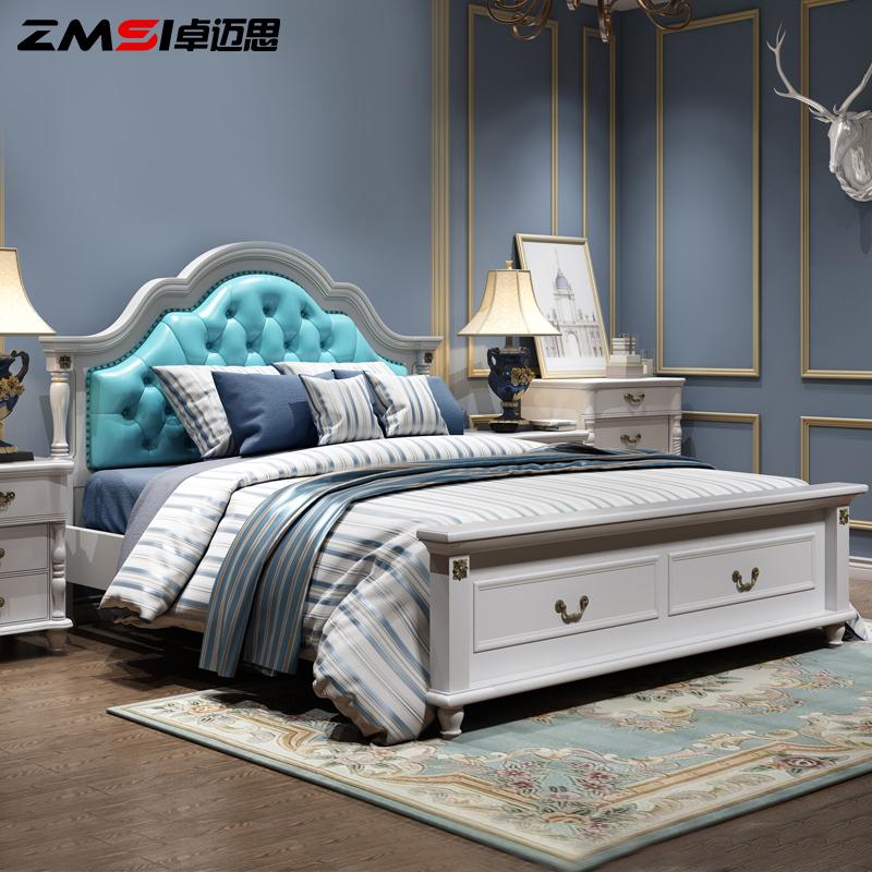 Выдающийся шаг мысль американский кровать двойной дерево мягкий чехол кожа кровать 1.5 метр корейский сельская местность страна оригами кровать континентальный брак кровать