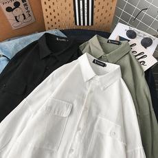 ins夏季冷淡风七分袖衬衣女宽松小众设计感学生外穿情侣工装衬衫