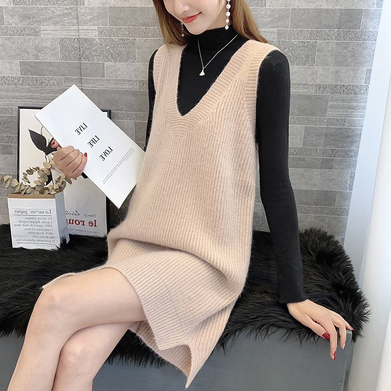 Autumn and winter new Korean loose V-neck knitted vest womens middle and long sweater