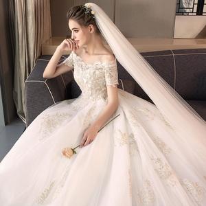 婚纱礼服2019新款新娘一字肩简约拖尾森系超仙梦幻齐地大码显瘦女