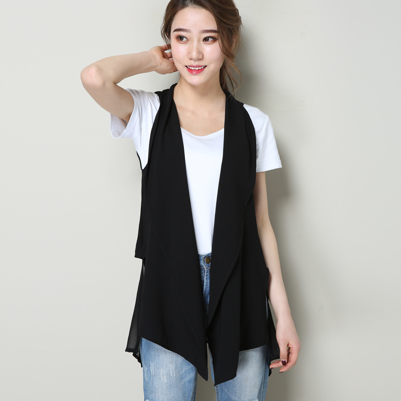 Chiffon vest women's medium length spring and autumn loose show thin versatile sleeveless vest vest women's summer thin cardigan outside