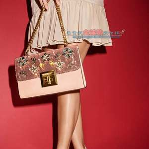 北京现货美代ALDO奥尔多花朵水钻珍珠亮片小方包斜挎包女士包袋