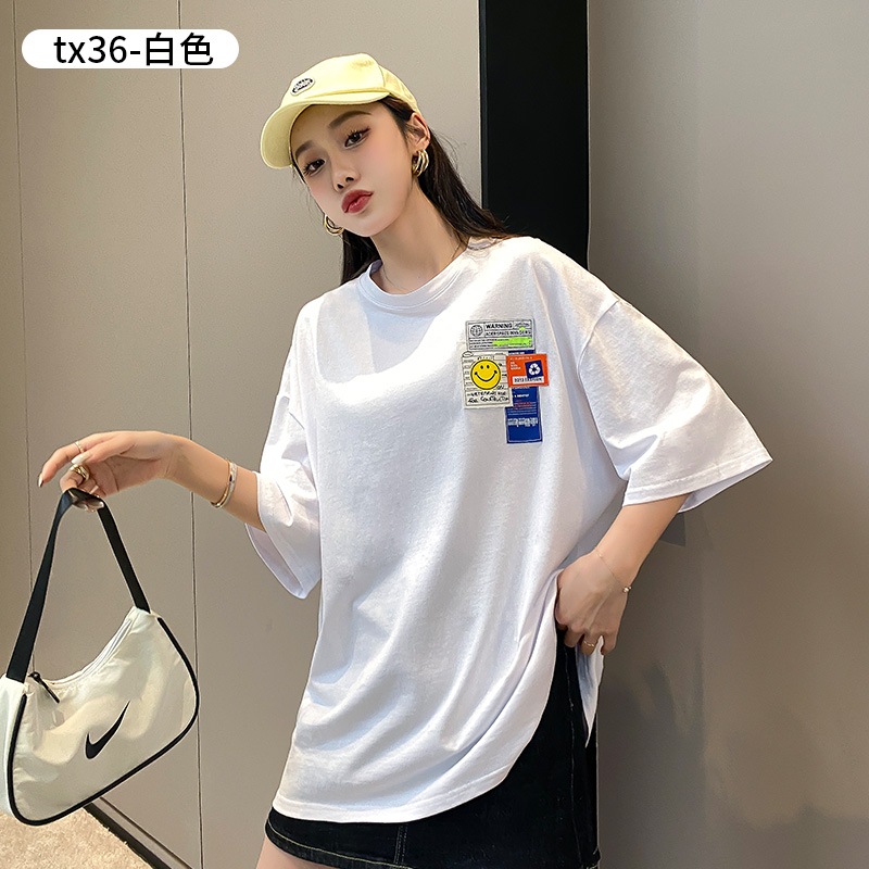 Summer T-shirt short sleeve womens long cotton T-shirt student loose and versatile 2021 new print leisure Edition