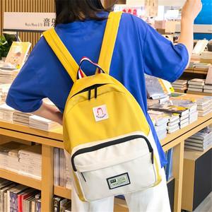 书包女简约森系帆布双肩包韩版原宿ulzzang高中大学生校园背包