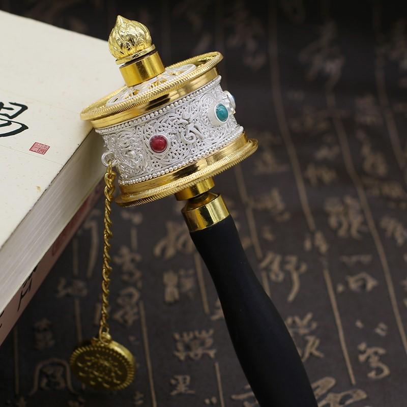 热销特色手工艺品静音轴承西藏佛教手摇转经筒六字真言转经轮法器