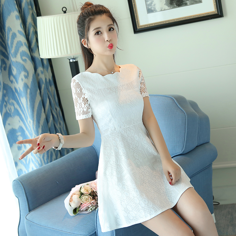 2018 new womens spring fashion dress spring short sleeve lace high waist dress womens Xia Xian thin skirt