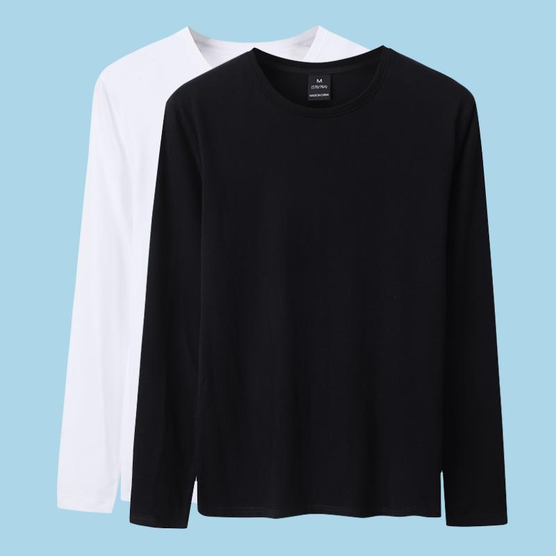 长袖t恤男纯棉素色纯黑色打底衫热销44件正品保证