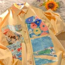 奶黄色衬衫女春秋薄款宽松设计感小众oversize长袖外套上衣ins潮