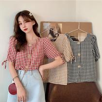 2021夏季新款格子衬衫短袖t恤女甜美小众心机设计感韩版宽松上衣