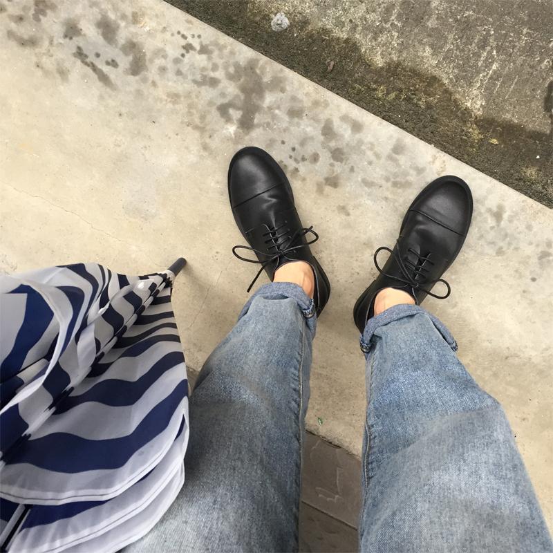 (用5元券)yh2019春秋新款ins风黑色小皮鞋