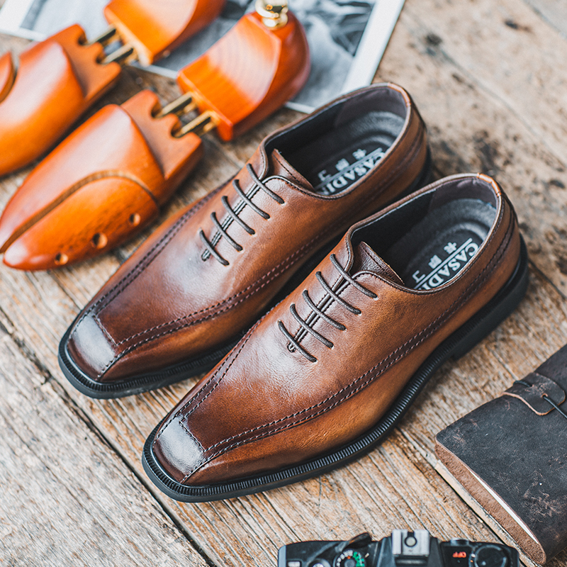 Business dress soft surface soft leather soft sole Derby shoes mens leather shoes British style retro small square head suit Oxford Shoes