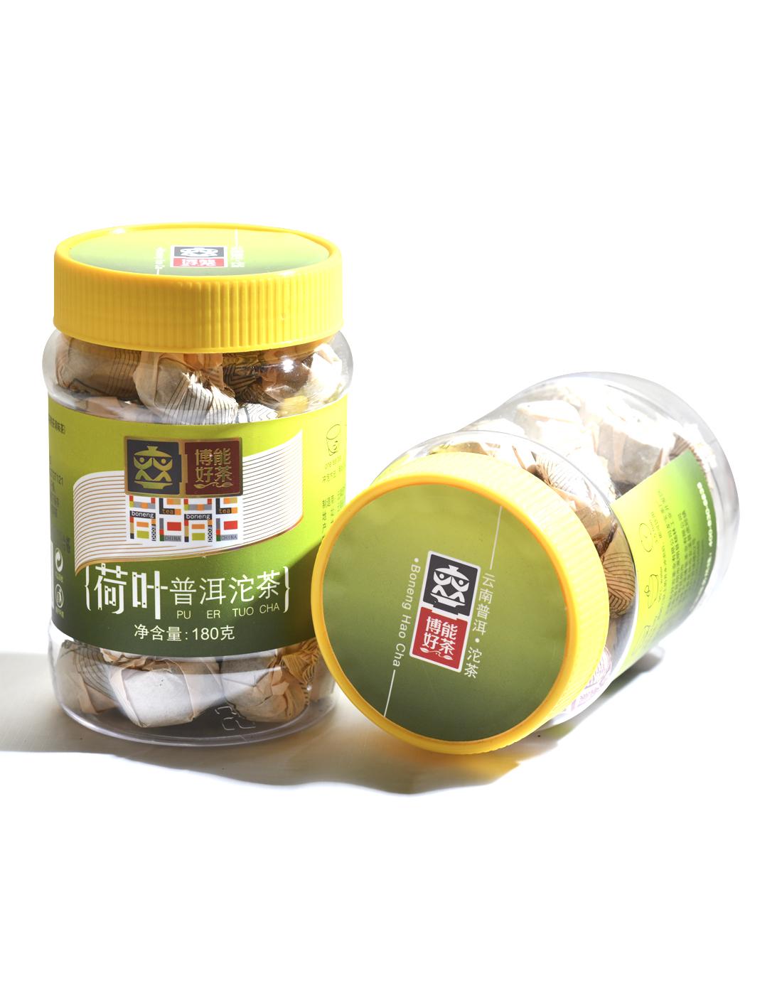 博能好茶 荷叶普洱沱茶云南普洱熟茶180克透明罐包装