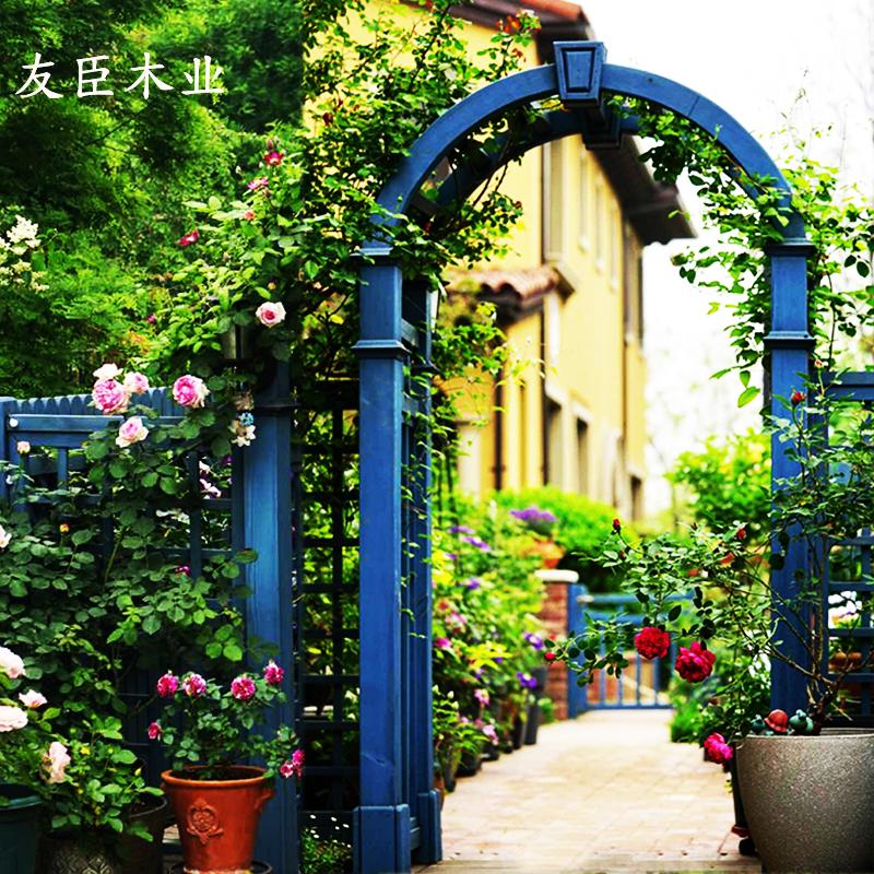 户外庭院木拱门花园防腐木花架院子装饰爬藤架碳化木拱形门花架