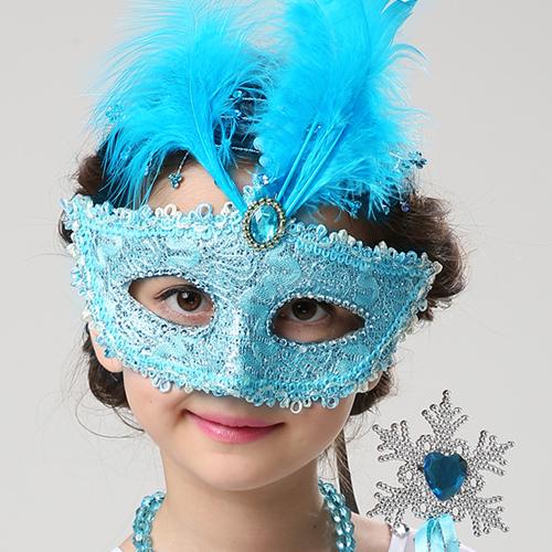 万圣节女童面具公主化妆舞会女面具冰雪奇缘爱莎儿童表演羽毛面具