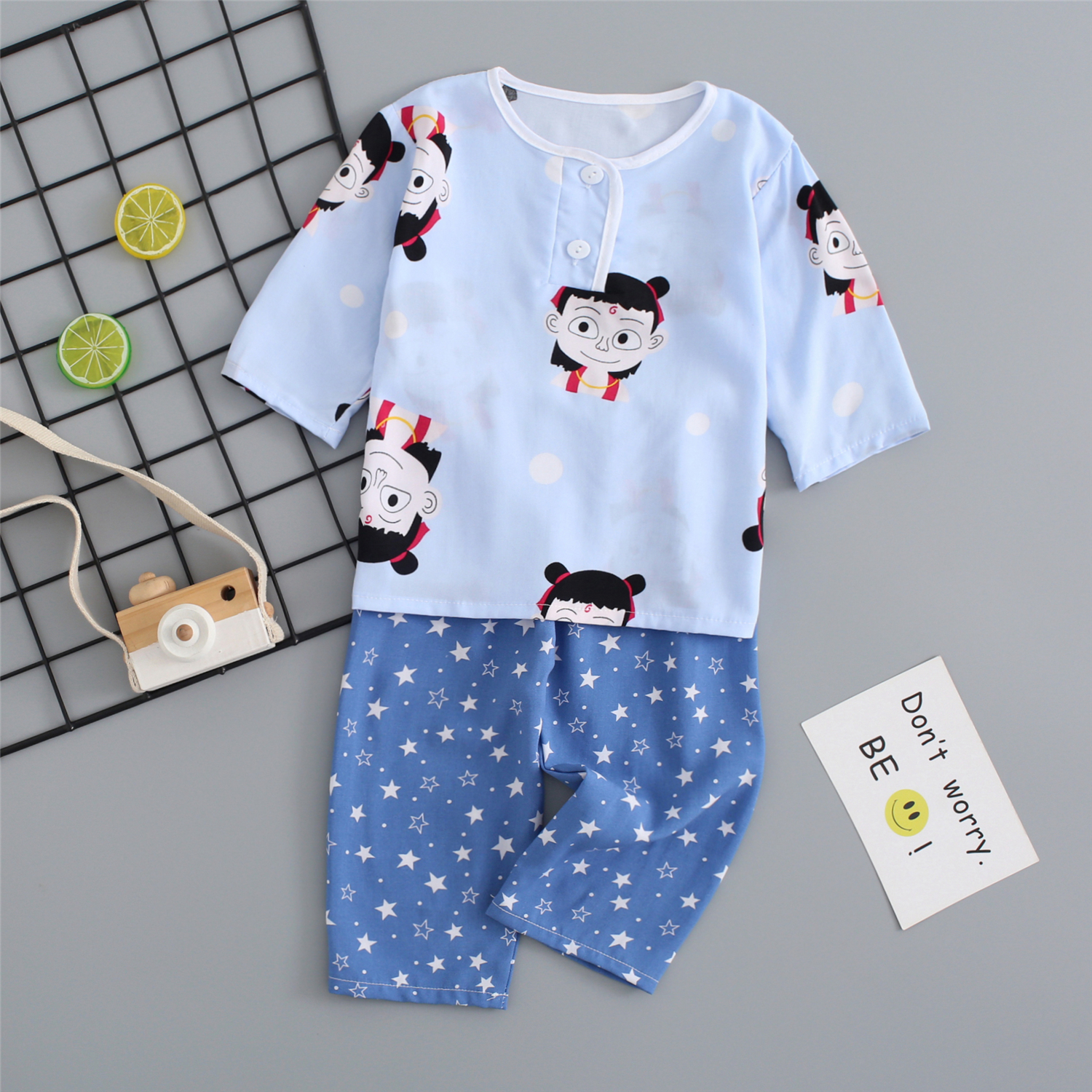 Childrens pajamas cotton silk long sleeve boys and girls Oriental thick summer thin air conditioning clothing baby home clothes set spring