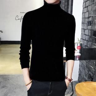 男士修身韩版高领毛衣两翻领纯色打底衫紧身针织线衫加绒加厚男装品牌