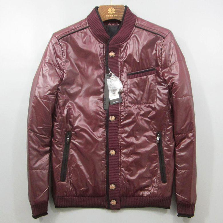 R系列品牌男装折扣 冬季休闲青年男款棉衣酒红色时尚保暖外套