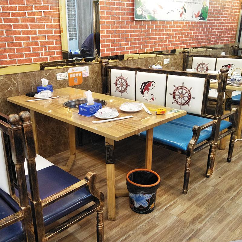 大理石火锅桌椅组合工业风实木火锅串串店烤鱼店烧鸡公店沙发组