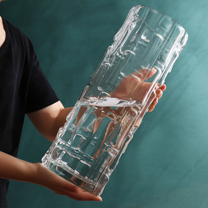 特大号圆形玻璃花瓶简约北欧落地透明直筒富贵竹水养客厅插花摆件