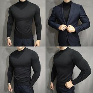 打底衫 针织衫 男 肌肉鲨鱼健身高领圆领中领套头修身