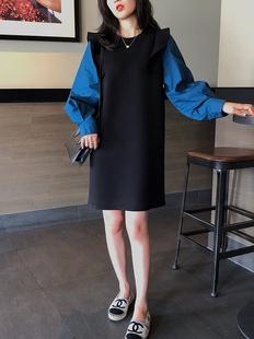 20秋冬新款氣質木耳邊拼接中長款連衣裙女智燻顯瘦大碼衞衣打底裙