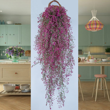 Simulation green plant indoor hanging orchid balcony decoration flower vine wall hanging plastic fake flower rattan living room vine plant ceiling