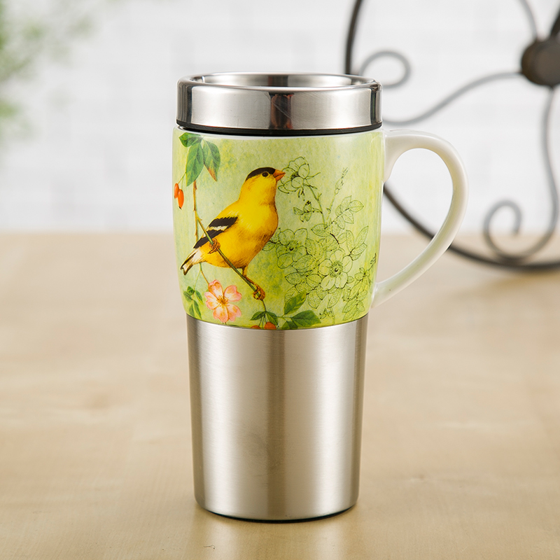爱屋格林创意不锈钢车载保温马克杯陶瓷带盖大容量便携家用水杯子