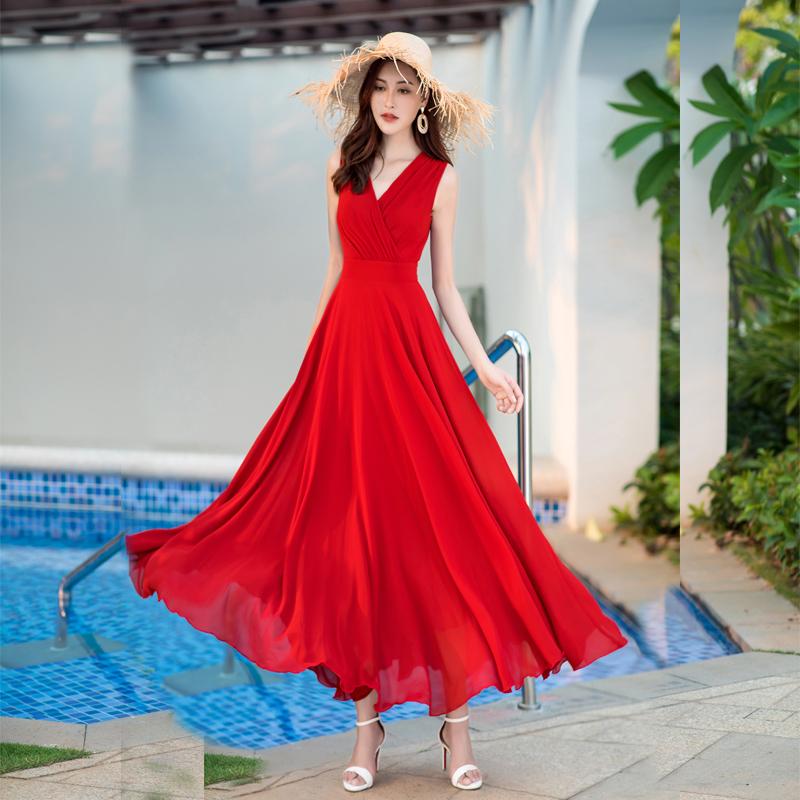 2020夏季女装新款气质优雅修身显瘦无袖雪纺长裙波西米亚连衣裙