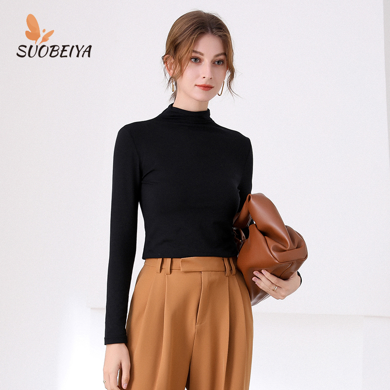 2021 spring new modal high collar base shirt womens long sleeve solid color pile collar slim fit with T-shirt