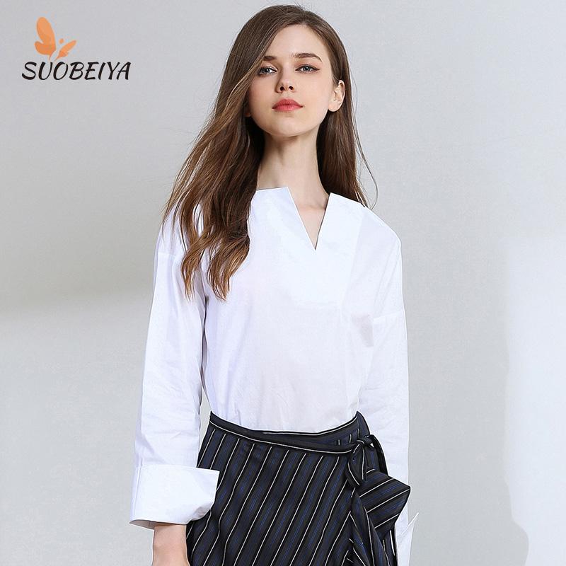 Sobeya spring / summer 2020 new womens fashion temperament long sleeve V-neck white shirt top
