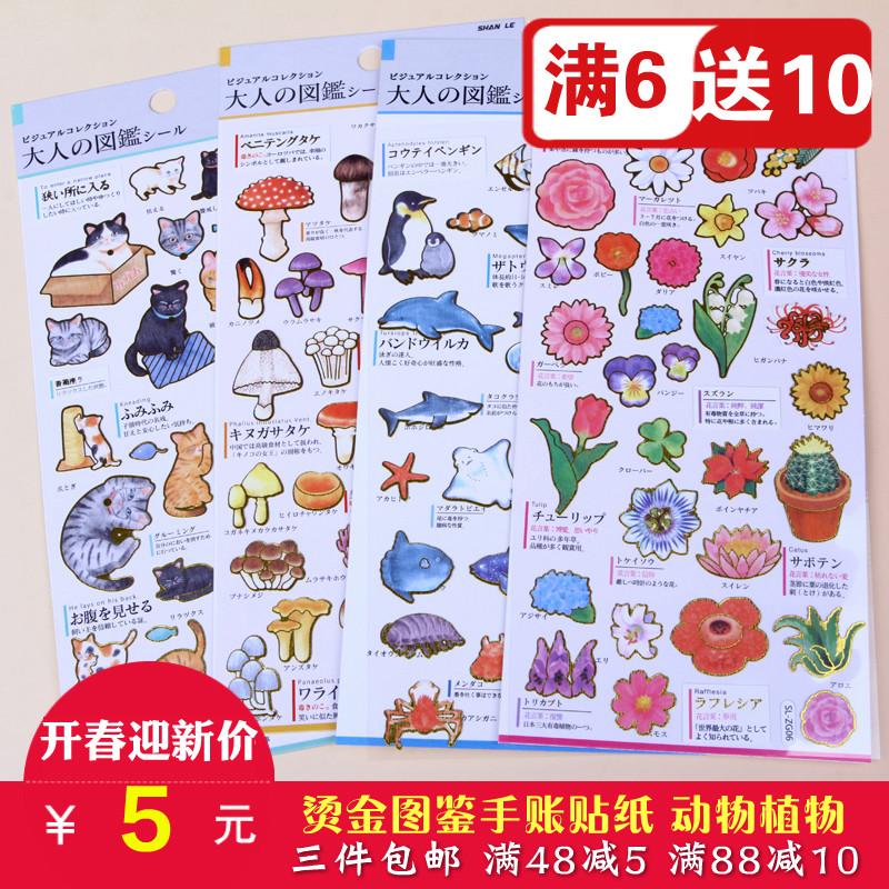 植物动物图鉴手帐本贴纸卡通装饰可爱小清新儿童贴画小贴纸手账