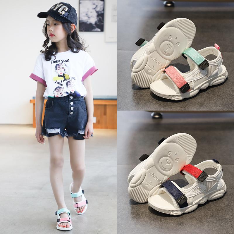 儿童2019新款女童凉鞋小熊底夏季时尚男童沙滩鞋防滑软底中小童鞋