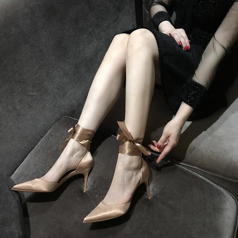 尖头细跟裸色高跟鞋学生十八岁2020春秋新款性感绑带香槟色单鞋女