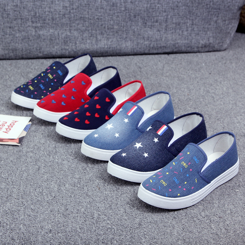 Huili official spring Korean version thick soled set foot denim shoes, one foot student canvas shoes, board shoes, casual shoes, female