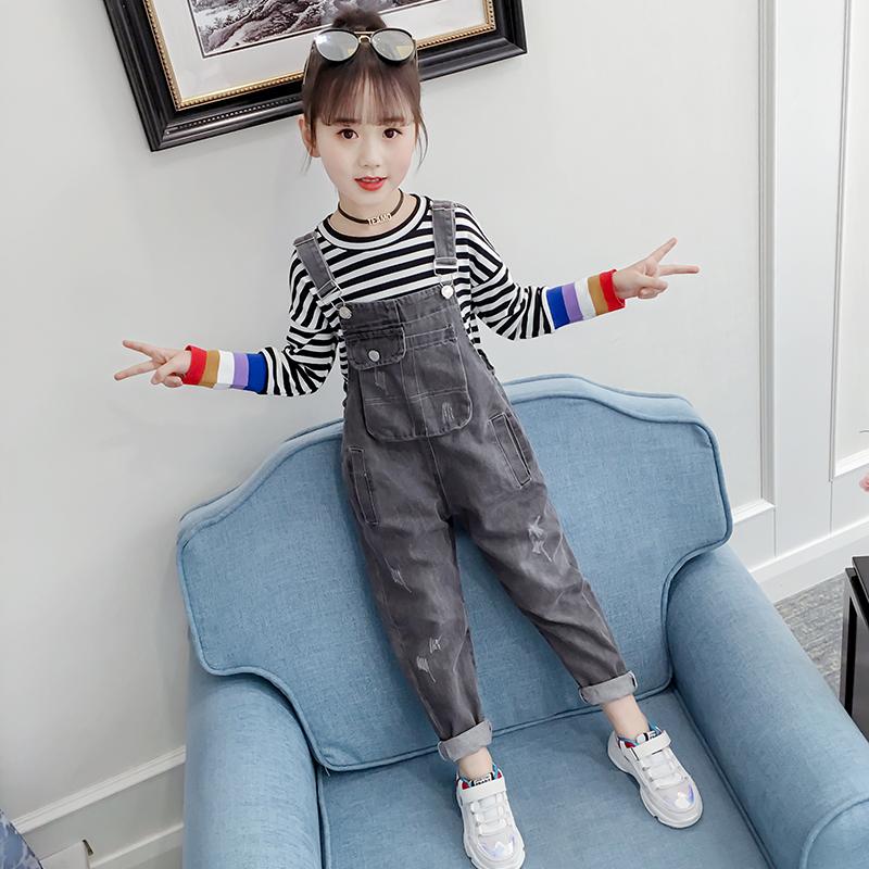 女童牛仔背带裤网红春装2020新款儿童女孩洋气牛仔裤中大童裤子潮