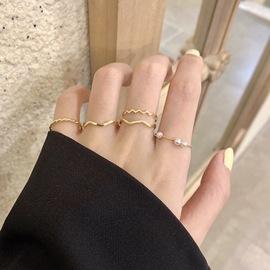 小众设计感气质网红ins冷淡混搭风 复古百搭珍珠镀金戒指指环套装