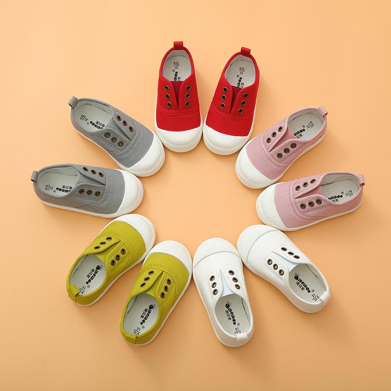 春秋儿童帆布鞋男童女童小白鞋宝宝布鞋1-3岁2小童鞋子一脚蹬板鞋