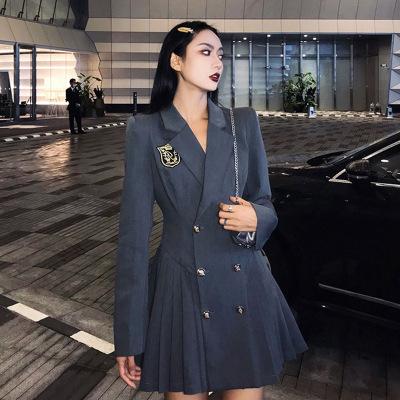 百褶裙子2021春款女装韩版收腰显瘦双排扣学院风西装连衣裙女秋冬