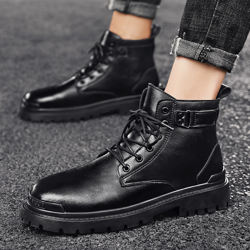 Mens shoes outdoor leisure super fiber Martin boots British style autumn and winter tide shoes high top leather boots fashion sports shoes
