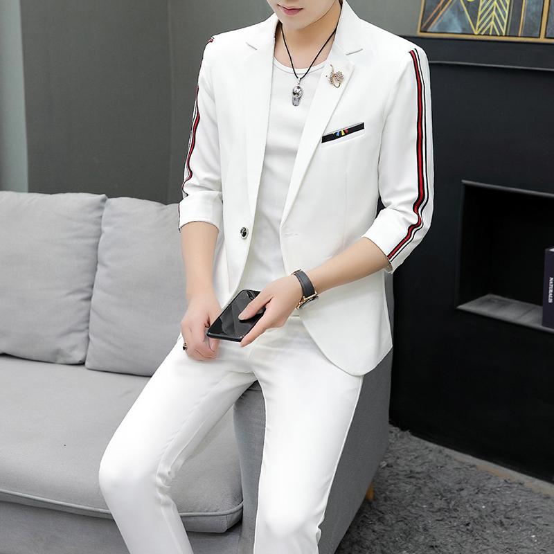 306B-2-TZ35-P120 夏装男士纯色七分袖西服时尚织带小西装两件套