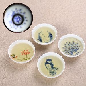 功夫茶具小茶杯茶碗茶杯釉中空陶瓷品茗杯小碗杯釉中彩主人杯敬茶